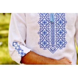 Вышиванка мужская со стойкой и длинным рукавом белая