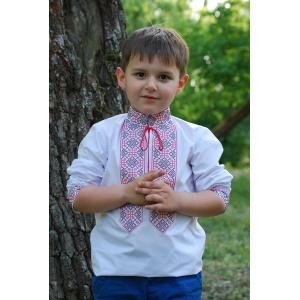 Вышиванка детская для мальчика с красно-черной вышивкой
