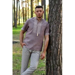 Льняная рубашка с вышивкой цвет какао