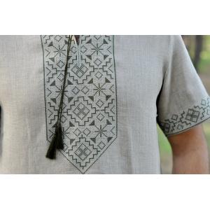 Вышиванка из натурального льна серая с коротким рукавом