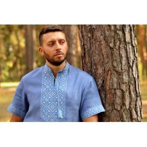 Мужская дизайнерская вышиванка из голубого льна
