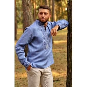 Стильная мужская вышиванка синяя