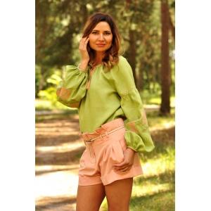 Современная женская вышиванка салатовая из натурального льна