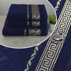 Комплект махровых полотенец 3шт GM Textile 50х90см, 50х90см, 70х140см Caesar 450г/м2 (Темно-Синий)