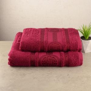 Набор махровых полотенец 2шт GM Textile 50х90см, 70х140см Spartac 450г/м2 (Бордовый)