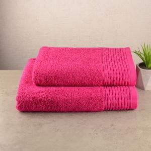 Комплект полотенец 2шт GM Textile 50х90см, 70х140см Polosa 500г/м2 (Малиновый)
