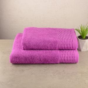 Комплект полотенец для ванной 2шт GM Textile 50х90см, 70х140см Polosa 500г/м2 (Сиреневый)