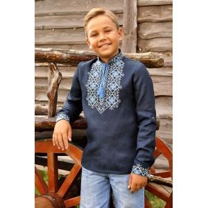 Детская вышитая рубашка для мальчика из синего льна