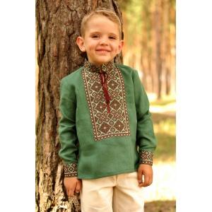 Детская вышиванка для мальчика зеленая из натурального льна
