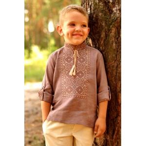 Детская льняная рубашка для мальчика коричневая с вышивкой