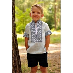 Детская вышитая рубашка с коротким рукавом голубая