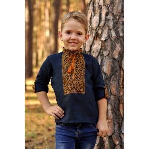 Детская синяя вышитая рубашка-оберег для мальчика