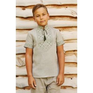 Детская вышитая рубашка серая с неотбеленого льна