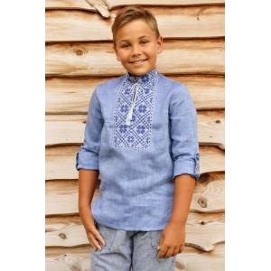 Вышитая детская рубашка для мальчика цвета денима