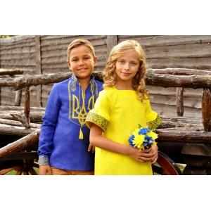 Вышиванка детская для мальчика синяя с гербом Украины