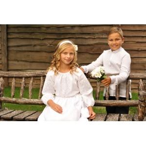 """Вышиванка детская для мальчика Белая из натурального льна вышитая белым по белому"""""""