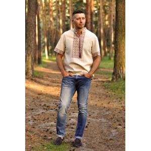 Летняя мужская вышиванка с коротким рукавом бежевая