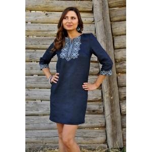 Короткое платье вышиванка синего цвета