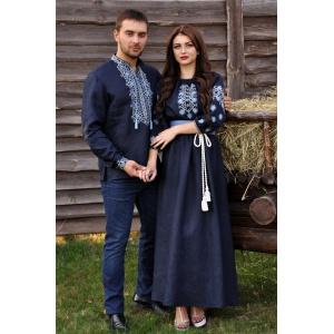 Изящный комплект - мужская рубашка с выразительной вышивкой и женское платье в пол