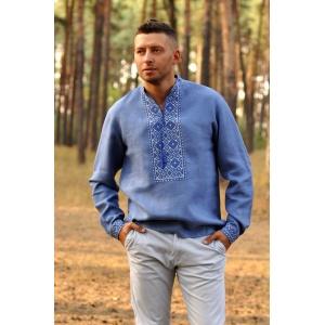 Рубашка с вышивкой синяя в джинсовом стиле