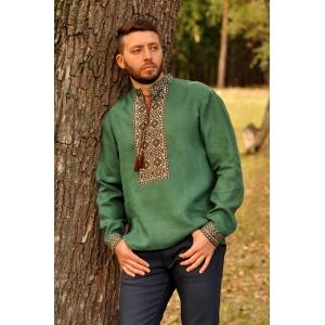 Вышиванка мужская зеленая