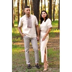 Вышитый летний комплект для пары – мужская рубашка и  женское платье с коротким рукавом