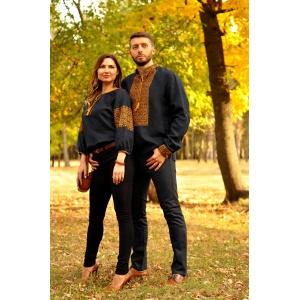 Ефектна чоловіча вишиванка і жіноча блуза з вишивкою благородного синього відтінку