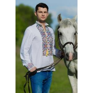 Вышиванка мужская белая с гербом Украины