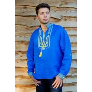 Вышиванка мужская с гербом Украины Синяя