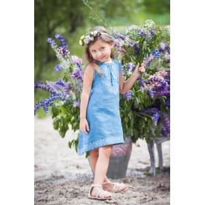 Детское платье из льна цвета денима с ассиметричной линией низа