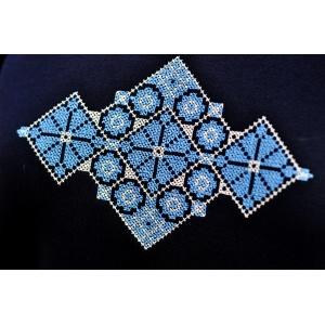 Костюм трикотажный с вышивкой темно-синий