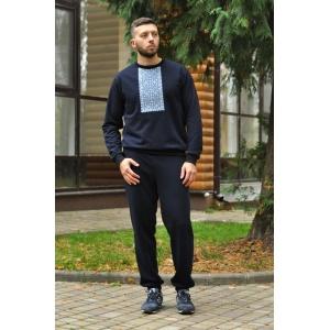 Костюм мужской с вышивкой из трикотажной ткани Темно-синий