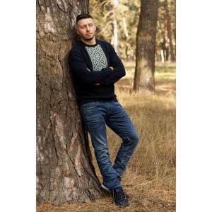 Свитшот мужской с вышивкой из трикотажной ткани Темно-синий