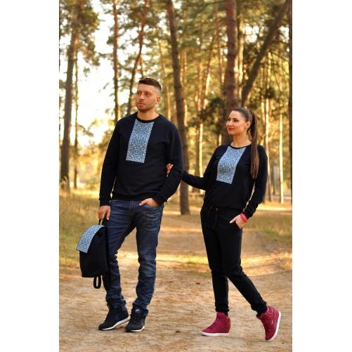 Свитшот мужской с вышивкой  и женский вышитый комбинезон