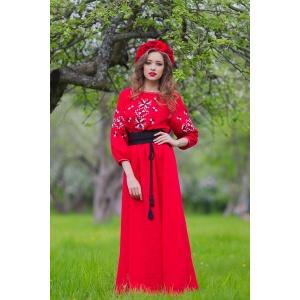 Красное платье вышиванка в украинском стиле