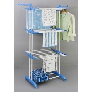 Универсальная складная напольная сушилка для одежды (вещей и белья) вертикальная на 3 яруса Tiers Garment rack (Cиняя) v0280