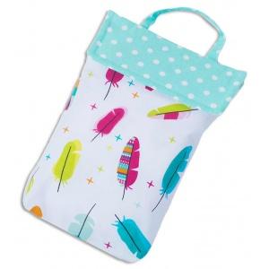 Кармашек для памперсов и влажных салфеток в детскую сумку перышки E003-perushki (белый)