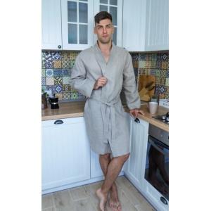Мужской халат из натурального неотбеленого льна