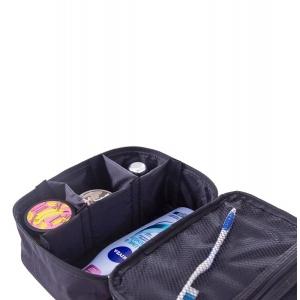 Вместительная дорожная косметичка со съемными перегородками black-K016 (черный)