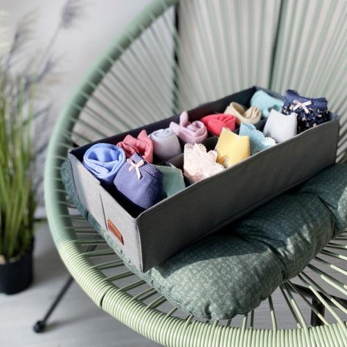Органайзер с квадратными ячейками для носков и трусов (Серый)