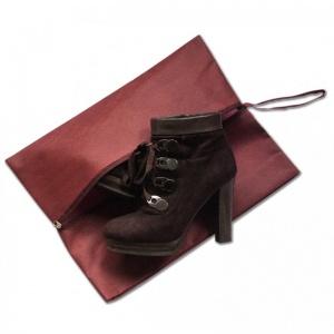 Объемная сумка-пыльник для обуви на молнии HO-02-burg (Бордовый)