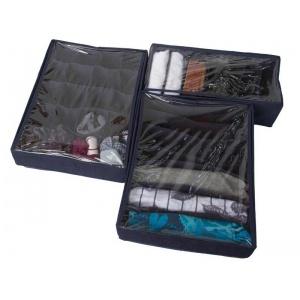 Набор органайзеров с крышками для нижнего белья 3 шт Jns003-Kr (Синий)