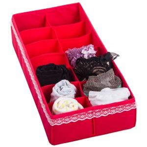 Коробочка с квадратными ячейками для носков и трусов KM-Kv (Красный)