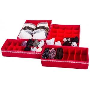 Комплект органайзеров для дома для белья 4 шт KM004-Kv (Красный)