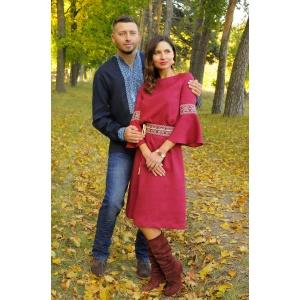 Притягательный комплект для пары - мужская рубашка с вышивкой и женское вышитое платье с рукавом-воланом