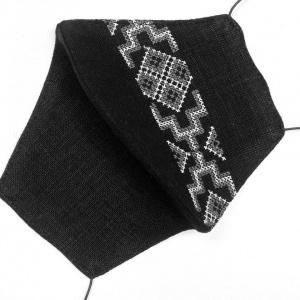 Маска защитная (многоразовая) из 100% ЛЬНА с Вышивкой Размер М Черный