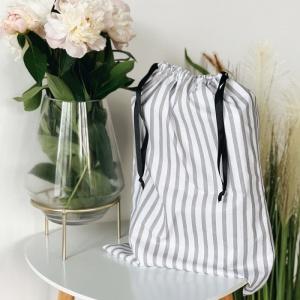 Мешок для вещей из хлопка 30х35 см полосы (Бело-серый)