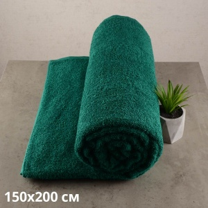 Простынь махровая GM TEXTILE 150х200см 400г/м2 (Зеленый)