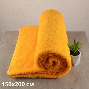 Простынь махровая GM TEXTILE 150х200см 400г/м2 (Желтый)