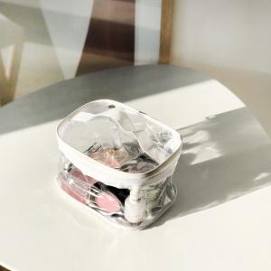 Прозрачная прямоугольная силиконовая косметичка М p006-white (белая)